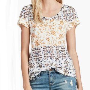 Lucky Brand Zipper Back Floral T-shirt Medium